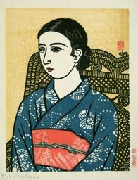 Hiratsuka Un'ichi: Young Woman in Blue Kimono - Art Institute of Chicago