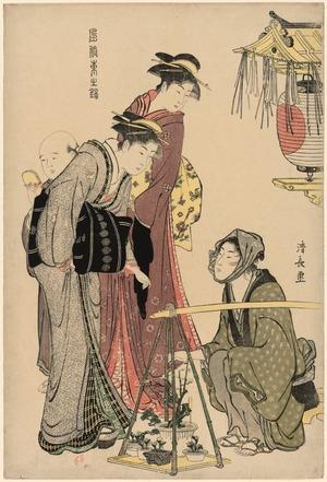 鳥居清長: Buying Potted Plants (Ueki fukujuso uri) from the series Beauties of the East as Reflected in Fasions (Fuzoku azuma no nishiki) - シカゴ美術館