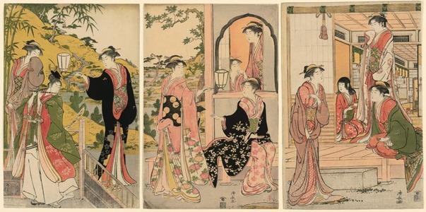 鳥居清長: Ushiwaka Serenading Joruri-hime (Ushiwaka-maru to Joruri-hime) - シカゴ美術館