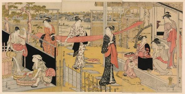 鳥居清長: Washday (Sentaku to harimono) - シカゴ美術館