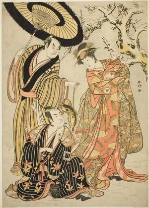 Katsukawa Shunko: The Actors Iwai Hanshiro IV (right), Ichikawa Monnosuke II (center), and Sakata Hangoro III (left), Possibly as Manazuru the Wife of Tametomo, Hojo Saburo Munetoki, and Kawanaya Tashiro, in the Joruri