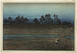 伊東深水: Evening at the Tama River - シカゴ美術館
