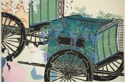 神坂雪佳: Courtiers' Carriages, from the series
