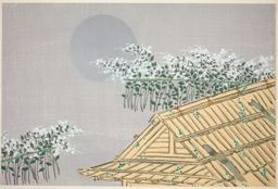 Kamisaka Sekka: Moonlit Scene with Hut and Flowers, from the series