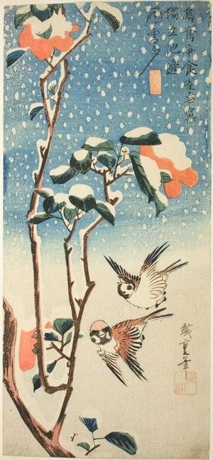 歌川広重: Camellias and Sparrows in Falling Snow - シカゴ美術館