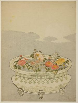 鈴木春信: Chrysanthemums and the Rising Moon - シカゴ美術館