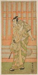 勝川春章: The Actor Nakamura Nakazo I as Kudo Saemon Suketsune (?) in the Play Sakai-cho Soga Nendaiki (?), Performed at the Nakamura Theater (?) in the First Month, 1771 (?) - シカゴ美術館
