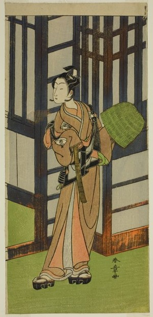 Katsukawa Shunsho: The Actor Onoe Tamizo I as Kewaizaka no Shosho Disguised as a Komuso in the Play Furisode Kisaragi Soga, Performed at the Ichimura Theater in the Second Month, 1772 - Art Institute of Chicago