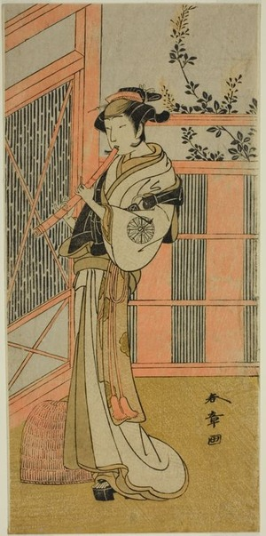 Katsukawa Shunsho: The Actor Nakamura Noshio I as Misao Disguised as a Komuso in the Play Kosode-gura no Tekubari, Performed at the Morita Theater in the Second Month, 1772 (?) - Art Institute of Chicago