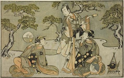 Katsukawa Shunsho: The Actors Nakamura Nakazo I as Matsukaze (right), Ichikawa Komazo II as Ariwara no Yukihira (center), and Iwai Hanshiro IV as Murasame (left), in the Play Kuni no Hana Ono no Itsumoji, Performed at the Nakamura Theater in the Eleventh Month, 1771 - Art Institute of Chicago