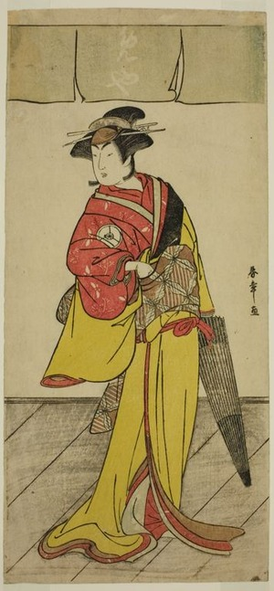 勝川春章: The Actor Iwai Hanshiro IV as Osuwa in the Play Koi no Yosuga Kanagaki Soga, Performed at the Ichimura Theater in the Fourth Monther, 1789 - シカゴ美術館