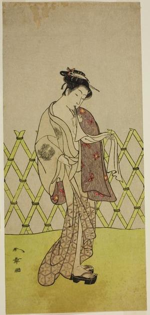勝川春章: The Actor Nakamura Riko I as Hakata no Kojoro (?) in the Play Shitenno-ji Nobori Kuyo, Performed at the Ichimura Theater in the Eighth Month, 1773 - シカゴ美術館