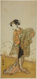 Katsukawa Shunsho: The Actor Nakamura Riko I as the Courtesan Wakamatsu (?) in the Play Gohiiki Kanjincho (?), Performed at the Nakamura Theater (?) in the Eleventh Month, 1773 (?) - Art Institute of Chicago