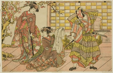 Katsukawa Shunsho: The Actors Ichikawa Danjuro V as Miura Kunitae (right), Segawa Kikunojo III as Yasukata (center), and Iwai Hanshiro IV as Utou (left), in the Play Godai Genji Mitsugi no Furisode, Performed at the Nakamura Theater in the Eleventh Month, 1782 - Art Institute of Chicago