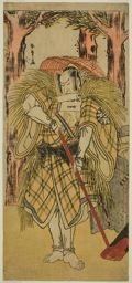 勝川春章: The Actor Nakamura Nakazo I as Hakamadare Yasusuke or Watanabe no Tsuna (?) in the Play Shintenno Tonoi no Kisewata (?), Performed at the Nakamura Theater (?) in the Eleventh Month, 1781 (?) - シカゴ美術館