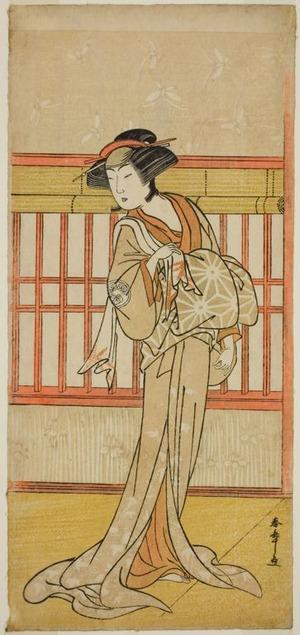 勝川春章: The Actor Osagawa Tsuneyo II as the Courtesan Miyagino (?) in the Play Gotaiheiki Shiraishi-banashi (?), Performed at the Morita Theater in the Fourth Month, 1780 (?) - シカゴ美術館