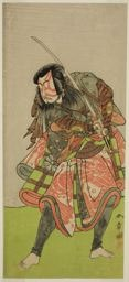 勝川春章: The Actor Nakamura Tomijuro I as Akushichibyoe Kagekiyo in the Play Kite Hajime Hatsugai Soga, Performed at the Morita Theater in the First Month, 1774 - シカゴ美術館