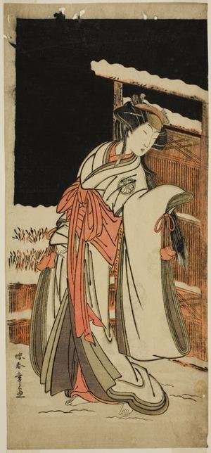 Katsukawa Shunsho: The Actor Segawa Kikunojo III as Lady Shizuka (Shizkua Gozen) Disguised as Tamazusa in the Play Chigo Torii Tobiiri Kitsune, Performed at the Ichimura Theater in the Eleventh Month, 1777 - Art Institute of Chicago