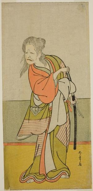 勝川春章: The Actor Nakajima Kanzaemon III as Yaguchi no Karasu-baba in the Play Hono Nitta Daimyojin, Performed at the Morita Theater in the Seventh Month, 1777 - シカゴ美術館