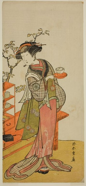 Katsukawa Shunsho: The Actor Nakamura Tomijuro I as the Waitress Otake in the Play Chigo Suzuri Aoyagi Soga, Performed at the Nakamura Theater in the First Month, 1777 - Art Institute of Chicago