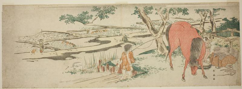 勝川春英: Rural Scene in Early Summer: Peasants Transplanting Rice and a Man Washing a Horse - シカゴ美術館