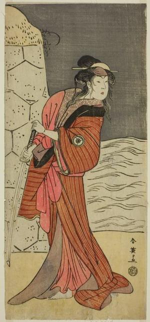 勝川春英: The Actor Iwai Hanshiro IV as Yaegushi no Oroku (?) in the Play Keisei Kogane no Hakarime (?), Performed at the Kawarazaki Theater (?) in the Third Month, 1792 (?) - シカゴ美術館