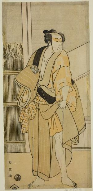 勝川春英: The Actor Ichikawa Monnosuke II as Hiranoya Tokubei (?) in the Play Waka Murasaki Edokko Soga (?), Performed at the Ichimura Theater (?) in the Third Month, 1792 (?) - シカゴ美術館