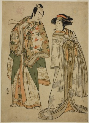 Katsukawa Shunko: The Actors Segawa Kikunojo III as the Courtesan Sumizome (right), and Ichikawa Monnosuke II as Goinosuke Yoshimine (left), in the Play Juni-hitoe Komachi-zakura, Performed at the Kiri Theater in the Eleventh Month, 1784 - Art Institute of Chicago