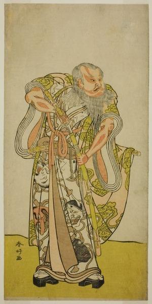 勝川春好: The Actor Sakata Hangoro II as Hige no Ikyu in the Play Shida Yakata Yotsugi no Hikibune, Performed at the Ichimura Theater in the Fifth Month, 1782 - シカゴ美術館