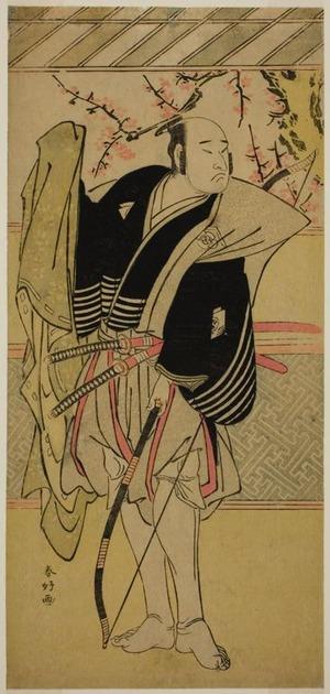 勝川春好: The Actor Onoe Matsusuke I as Yawata no Saburo (?) in the Play Edo no Hana Mimasu Soga (?), Performed at the Nakamura Theater (?) in the First Month, 1783 (?) - シカゴ美術館
