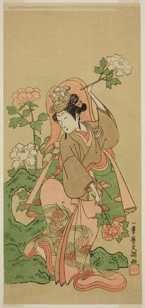 Ippitsusai Buncho: The Actor Segawa Kikunojo II in Shakkyo Dance in the Play Soga Moyo Aigo no Wakamatsu, Performed at the Nakamura Theater in the Second Month, 1769 - Art Institute of Chicago