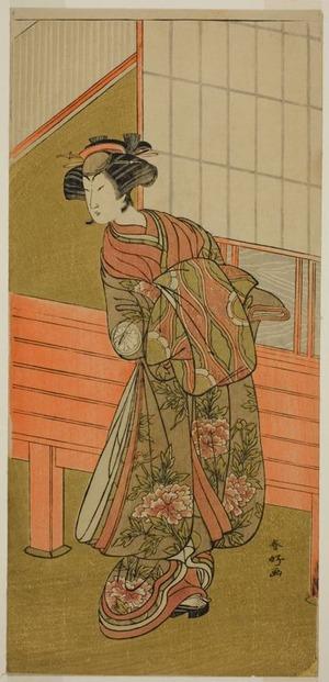 勝川春好: The Actor Segawa Kikunojo III as the Courtesan Takamura of Onoteruya (?) in the Play Sugata no Hana Yuki no Kuromushi (?), Performed at the Ichimura Theater (?) in the Eleventh Month, 1776 (?) - シカゴ美術館