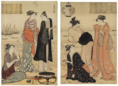 Torii Kiyonaga: The Twelve Months in the Southern Quarter (Minami jûni kô): The Sixth Month-Enjoying the Cool in a Teahouse - Art Institute of Chicago