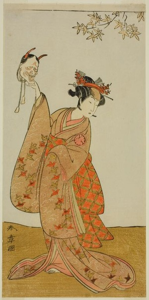 勝川春章: The Actor Segawa Yujiro I as Matsukaze, Sister of Togashi no Saemon, in the Play Gohiiki Kanjincho (Your Favorite Play Kanjincho [The Subscription List]), Performed at the Nakamura Theater from the First Day of the Eleventh Month, 1773 - シカゴ美術館