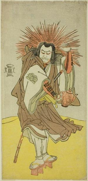 勝川春章: The Actor Nakayama Kojuro VI as Osada no Taro Kagemune (in Reality Hatcho Tsubute no Kiheiji), in the Guise of a Lamplighter of Gion Shrine, in Act Three from Part One of the Play Yukimotsu Take Furisode Genji (Snow-Covered Bamboo: Genji in Long Sleeves), Performed at the Nakamura Theater from the First Day of the Eleventh Month, 1785 - シカゴ美術館