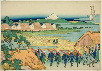 Katsushika Hokusai: Senju Hana-machi Yori Chobo no Fuji (Mount Fuji Seen from Senju Pleasure Quarter), from the series Thirty-Six Views of Mount Fuji (Fugaku sanjurokkei) - Art Institute of Chicago