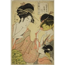 Hosoda Eishi: Beauties of the Pleasure Quarters (Seiro bijin awase): Kisegawa of the Matsubaya with Attendants Onami and Menami - Art Institute of Chicago