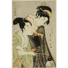 一楽亭栄水: Beauties in Joruri Roles (Bijin awase joruri kagami): Osome and Hisamatsu - シカゴ美術館