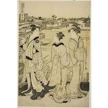 細田栄之: Ono no Komachi at Seki Temple, from the series