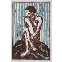 Hiratsuka Un'ichi: Nude (Sitting on a Rock) - Art Institute of Chicago