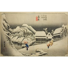 歌川広重: Kanbara, Evening Snow (Kanbara, yoru no yuki), from the series