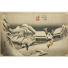 歌川広重: Kanbara, Evening Snow (Kanbara, yoru no yuki), from the series