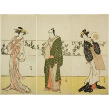 Katsukawa Shunko: The Actors Osagawa Tsuneyo II (right), Ichikawa Monnosuke II (center), and Segawa Kikunojo III (left), Possibly as Misao Gozen, Matsuya Soshichi, and the Courtesan Kojoro of Hakata, in the Play Chiyo no Hajime Ondo no Seto (Beginnings of Eternity: The Ondo Straits in the Seto Insland Sea) (?), Performed at the Kiri Theater from the Twenty-seventh Day of te Seventh Month, 1785 - Art Institute of Chicago