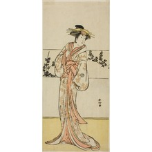 勝川春好: The Actor Segawa Kikunojo III, Possibly as the Courtesan Kojoro of Hakata, in the Play Chiyo no Hajime Ondo no Seto (Beginnings of Eternity: The Ondo Straits in the Seto Inland Sea) (?), Performed at the Kiri Theater from the Twenty-seventh Day of the Seventh Month, 1785 - シカゴ美術館