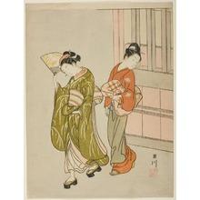 Suzuki Harunobu: Eight Indoor Scenes (Zashiki Hakkei): A Folding Fan-A Clear Day (Ôgi no seiran) - Art Institute of Chicago