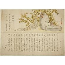 Katsushika Hokusai: Sparrows on Millstones with Hagi Bushes - Art Institute of Chicago