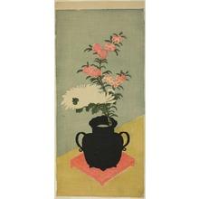 一筆斉文調: White Chrysanthemums and Pinks in a Black Vase - シカゴ美術館