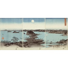 Utagawa Hiroshige: Evening View of Eight Famous Sites at Kanazawa (Buyo Kanazawa hassho yakei) - Art Institute of Chicago