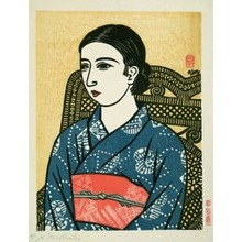 Hiratsuka Un'ichi: Young Woman in Blue Kimono - シカゴ美術館