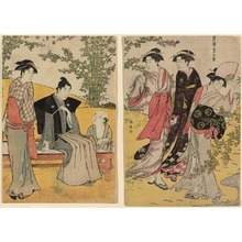 鳥居清長: An Outing at Hagidera (Hagimi) from the series Beauties of the East as Reflected in Fashions (Fuzoku azuma no nishiki) - シカゴ美術館